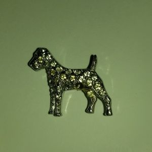 """Silver Standing Dog Pin with Rhinestones 3/4"""""""